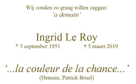 overlijden Ingrid Le Roy